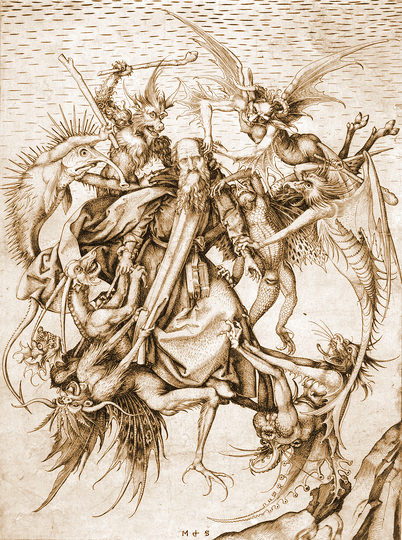 St. Anthony Plagued by Demons, engraved by Martin Schongauer in the 1480s.