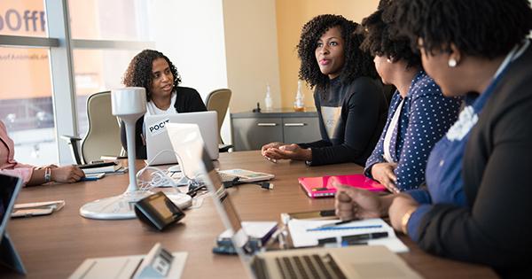 Women meeting at business organization's training center