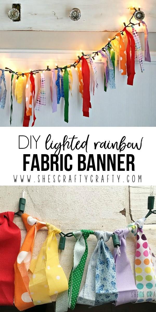 She S Crafty Diy Lighted Rainbow Fabric Banner