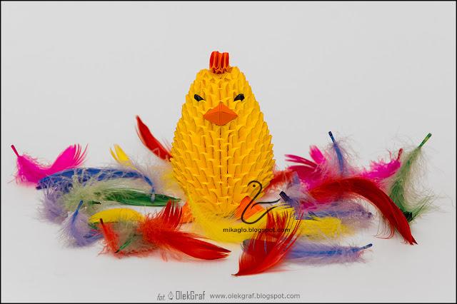 385. Żółty kurczaczek / 3d origami yellow chick