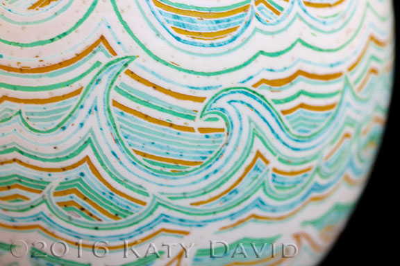 """""""Gamboling Water"""" ©2016 Katy David. Etched and Dyed Ostrich Eggshell"""