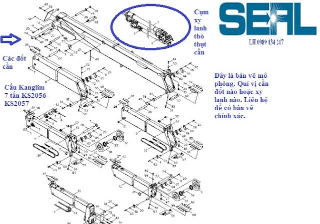 Đốt cần - cụm xy lanh ra vào cần của cẩu KanglimKS2056-KS2057