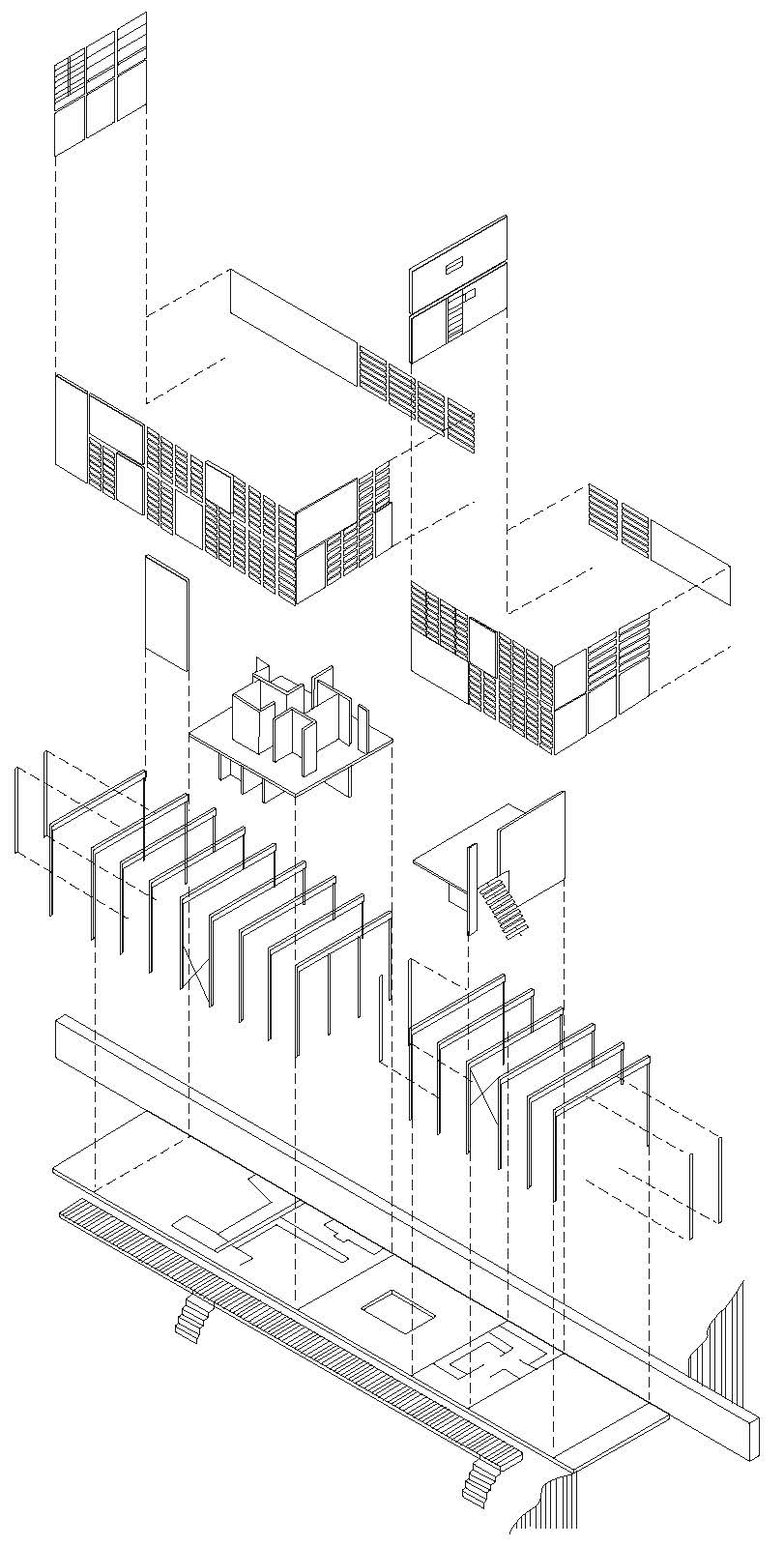 Eames House: Exploded Axonometric of Eames House