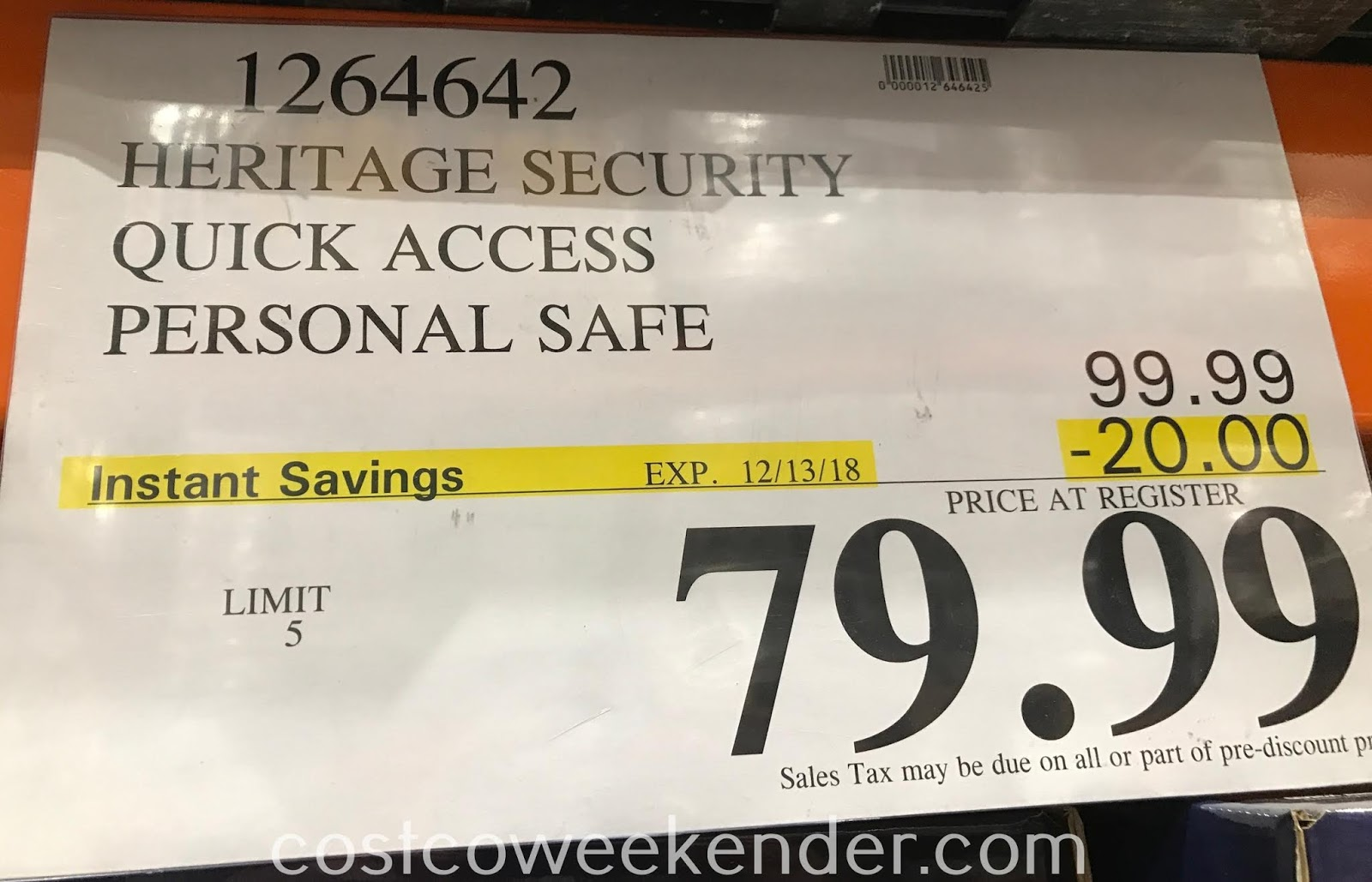 Deal for the Heritage Security Quick Access Personal Safe at Costco