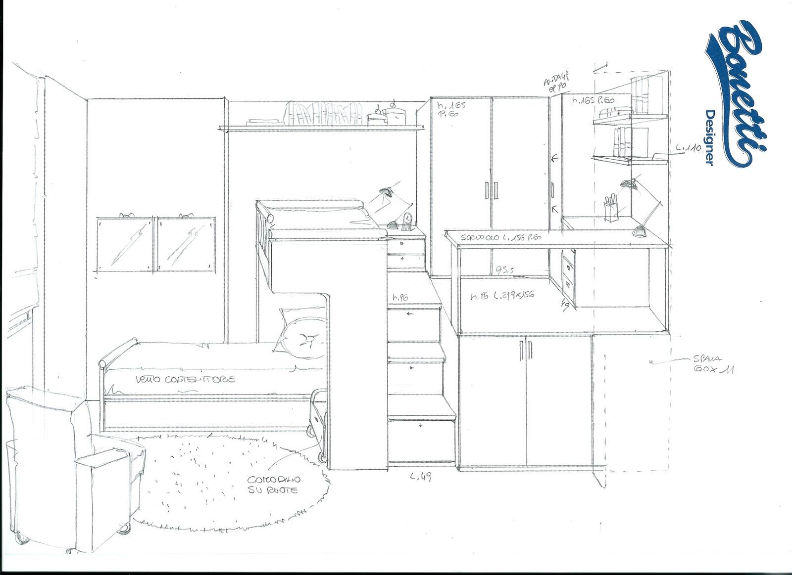 Bonetti camerette bonetti bedrooms camerette su misura - Misure standard camera da letto ...