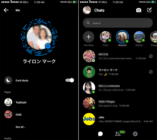 How to make FB Messenger in Dark Mode