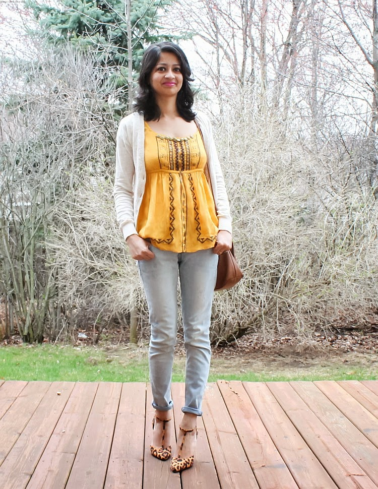 FASHION, INDIAN BLOGGER, OOTD, OUTFIT IDEAS, SPRING/SUMMER 2015, SS2015, WHAT I WORE, Silk Top, Animal Print, Bejeweled Cardigan, Spring Outfit