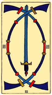 Tarot de Marsella: Tres de Espadas