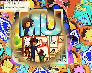 sticker de street art que se expone en el museo del juguete antiguo méxico