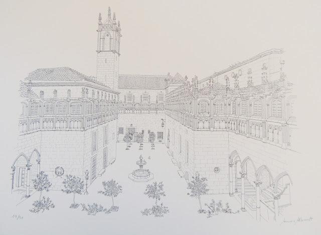 Aurora Altisent arte litografía dibujo moderno calles de Barcelona placa del rei