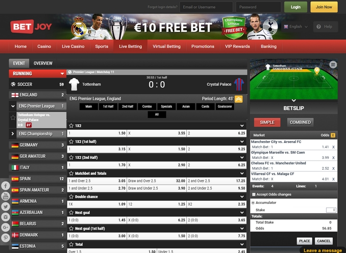BetJoy Live Betting Screen