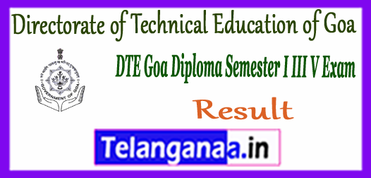 DTE Directorate of Technical Education Goa Diploma 1st 3rd 5th Semester Result 2017-18