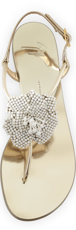 Giuseppe Zanotti Metallic Crystal Flat Sandal, Platino