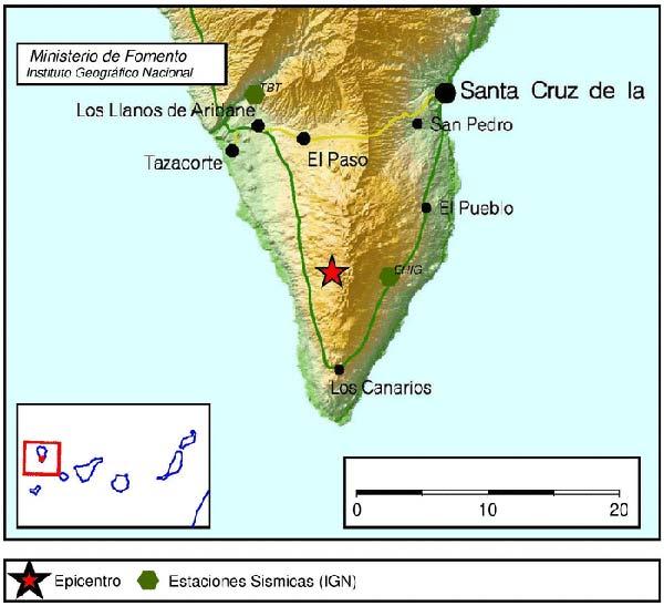 Terremoto en  Los Canarios,  La Palma
