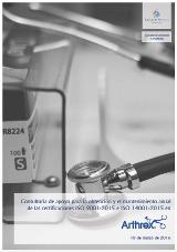 Portada del contrato por el que Cuevas y Montoto Consultores apoyará a Arthrex España y Portugal a obtener las certificaciones ISO 9001 e ISO 14001 en sus versiones de 2015.