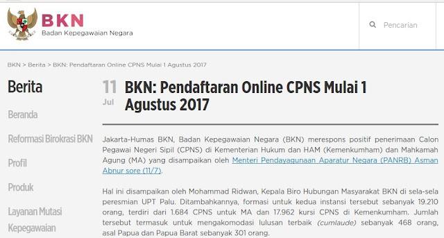 Pendaftaran Online CPNS Mulai 1 Agustus 2017