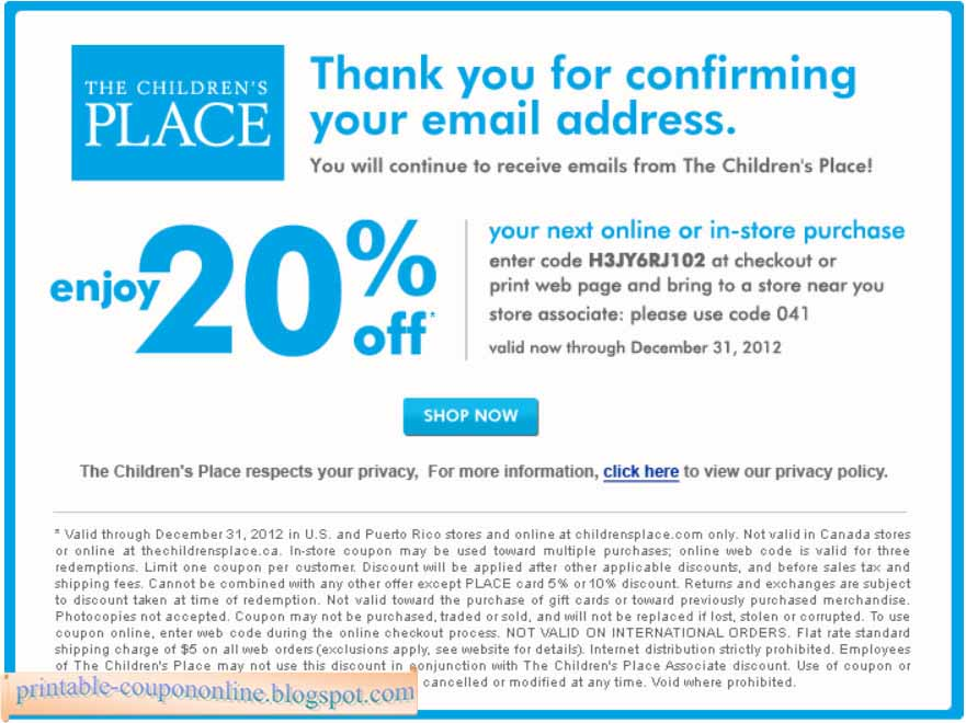 Children's place online coupon code