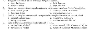 Soal UTS Al-Qur'an Hadits Kelas 6 Semester 2