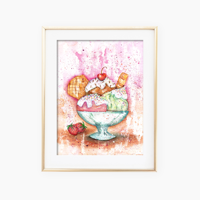 Ice Cream Watercolor Painting