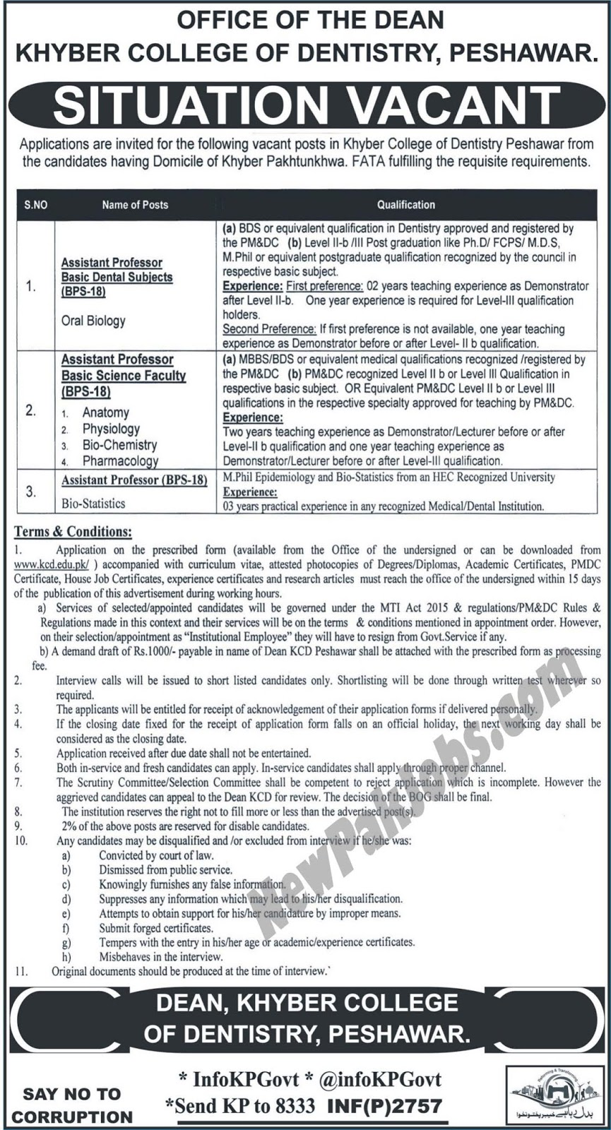 Fresh Govt Vacancies in Khyber College of Dentistry Peshawar www.kcd.edu.pk