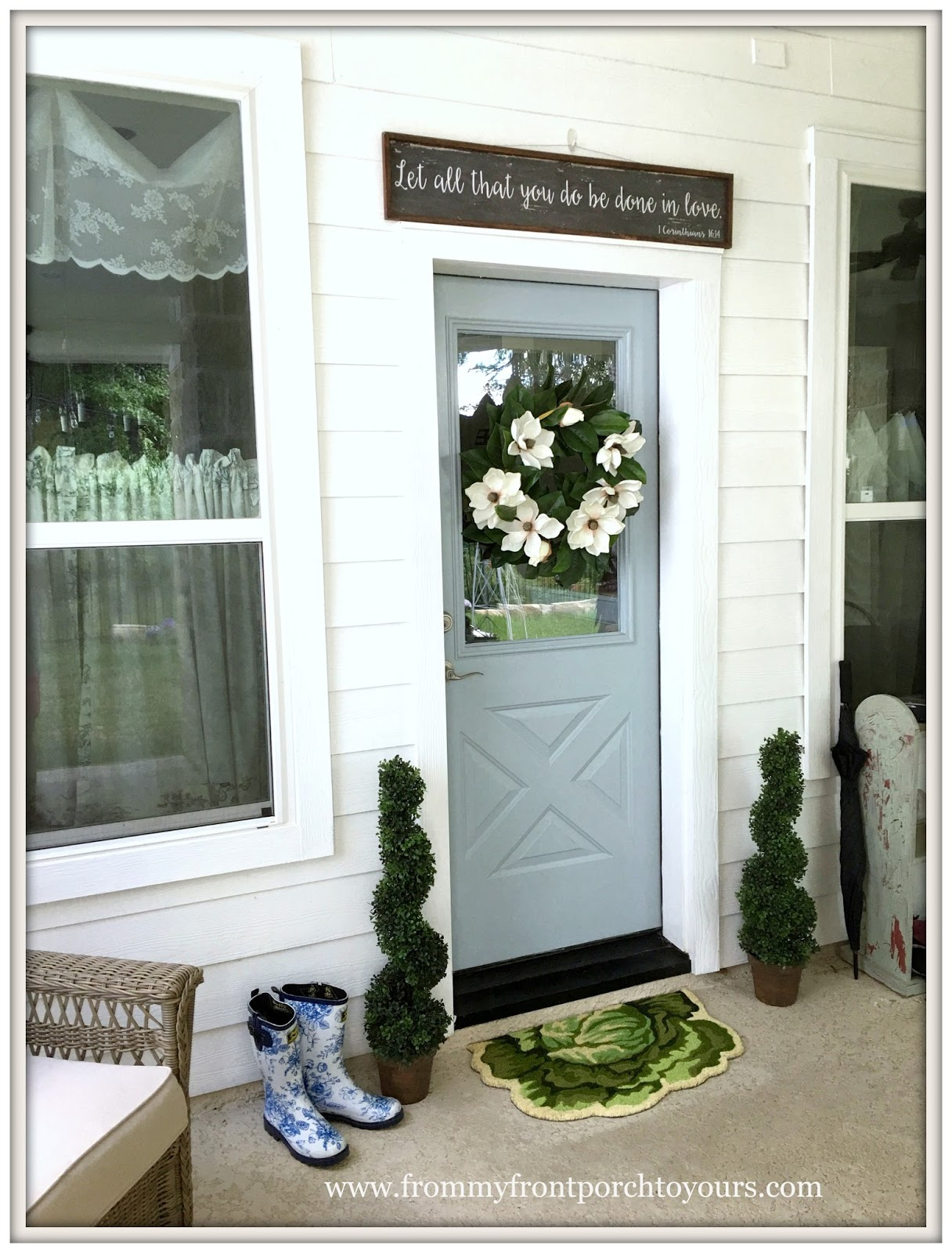 Farmhouse Back Porch Decor Living Sprial Topiaries From My Front