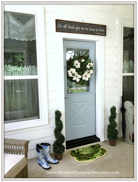 Farmhouse Back Porch-Porch Decor-Porch Living-Sprial topiaries-From My Front Porch To Yours