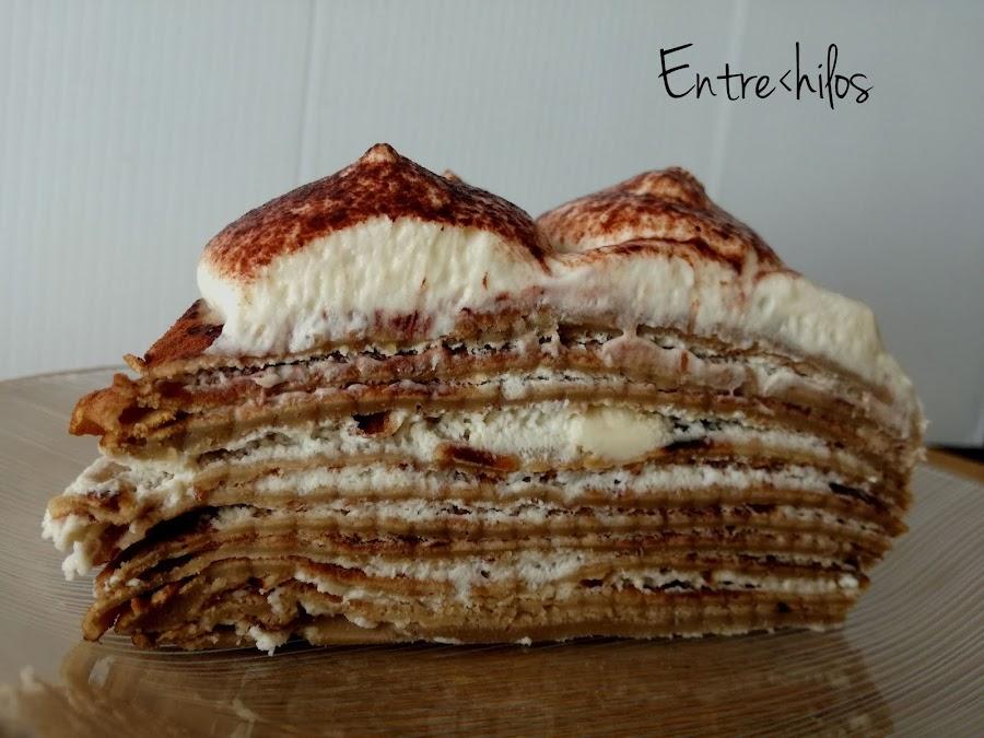 tarta de crepes de tiramisu