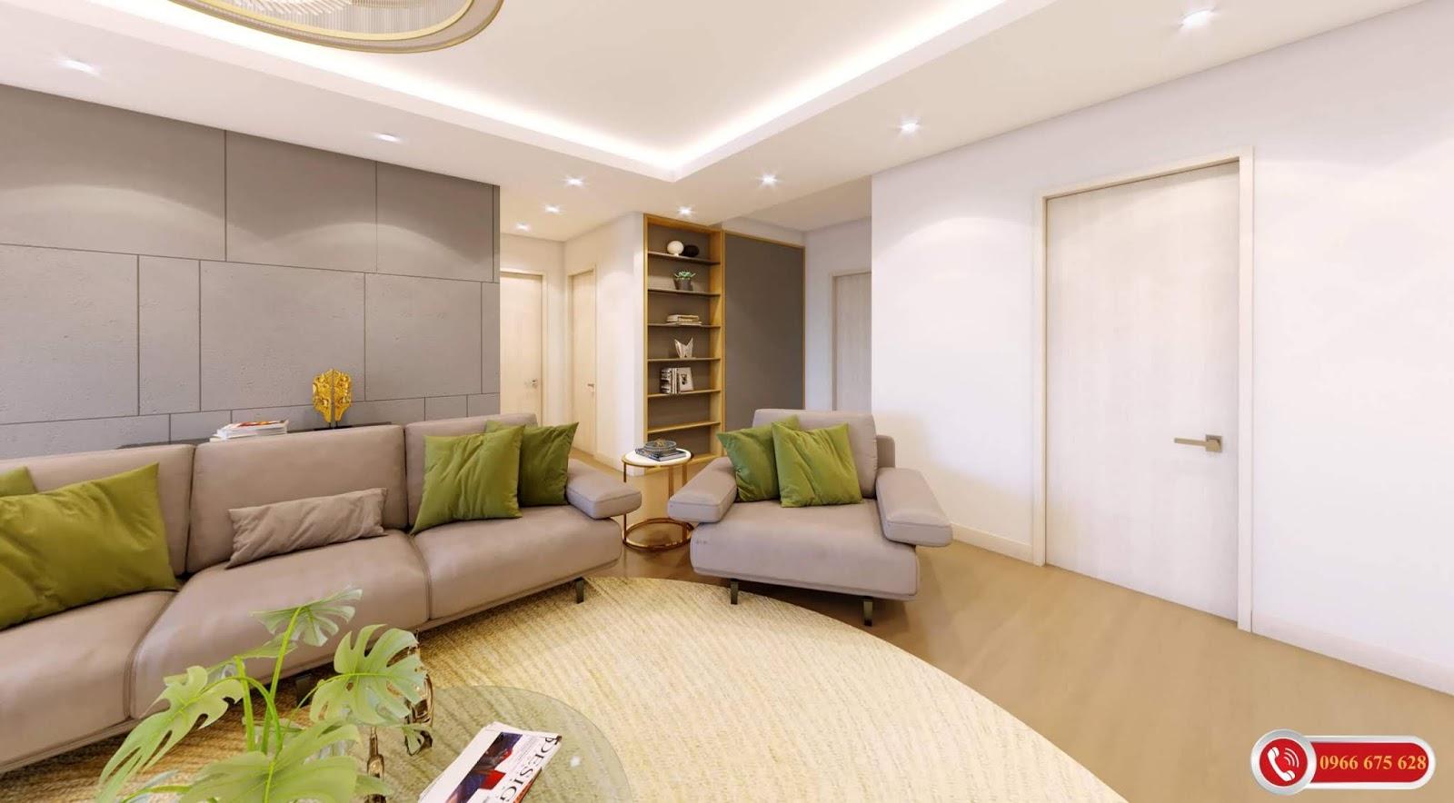 Phòng khách căn hộ chung cư Amber Riverside Minh Khai