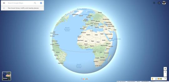 Google Maps will now become a sphere when you zoom out (Picture: Google).