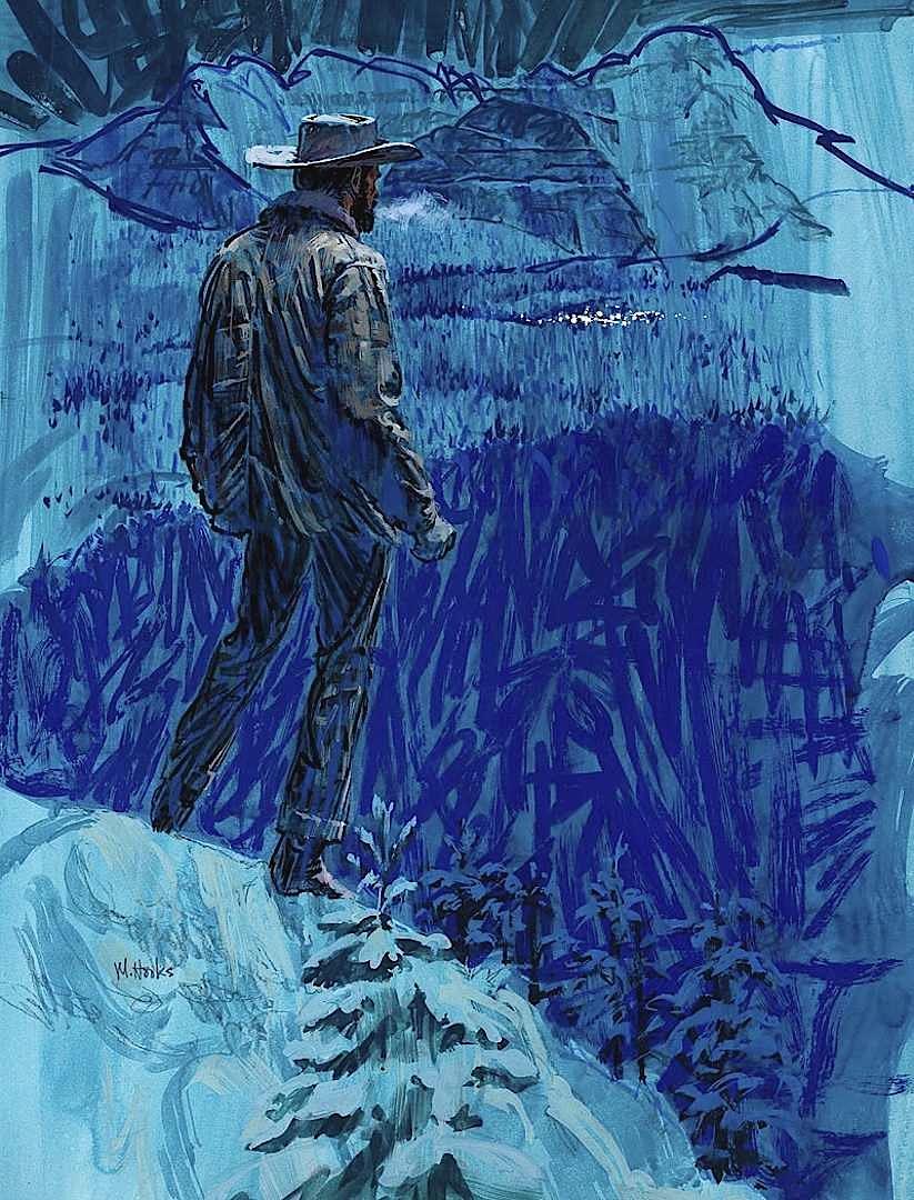 Mitchell Hooks large illustration of a cowboy