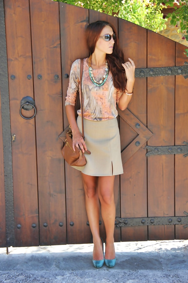 beige mini skirt beige sheer top brown bag brown sunglasses