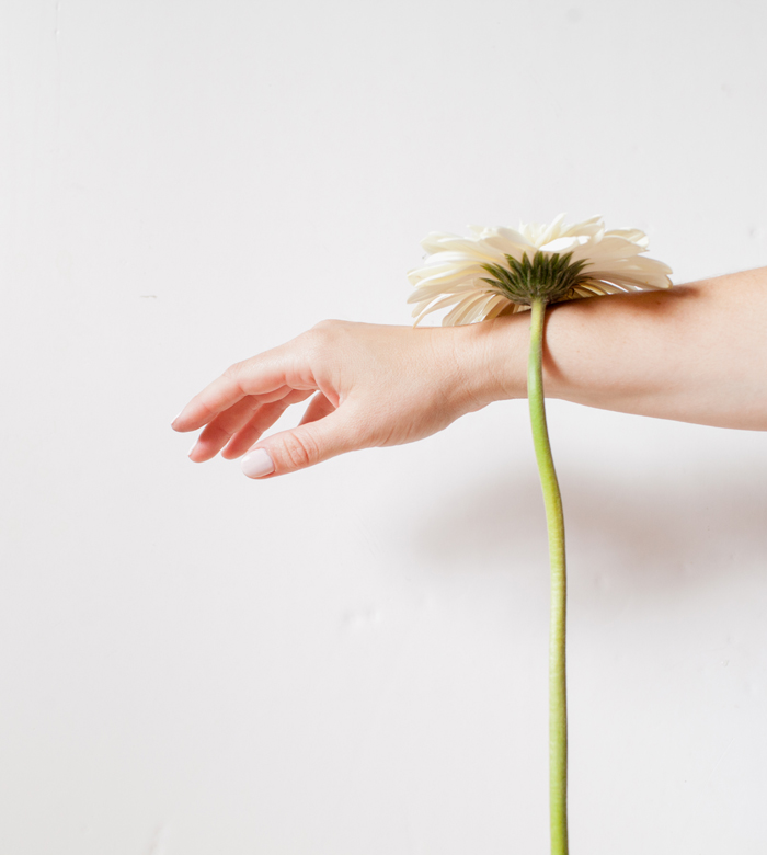 hand and white flower