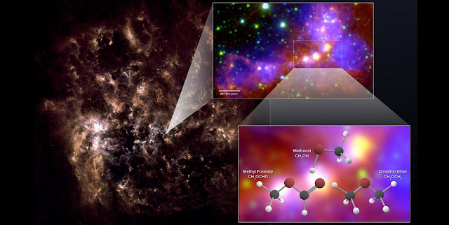 "Astronomers using ALMA have uncovered chemical ""fingerprints"" of methanol, dimethyl ether, and methyl formate in the Large Magellanic Cloud. The latter two molecules are the largest organic molecules ever conclusively detected outside the Milky Way. The far-infrared image on the left shows the full galaxy. The zoom-in image shows the star-forming region observed by ALMA. It is a combination of mid-infrared data from Spitzer and visible (H-alpha) data from the Blanco 4-meter telescope. Credit: NRAO/AUI/NSF; ALMA (ESO/NAOJ/NRAO); Herschel/ESA; NASA/JPL-Caltech; NOAO"