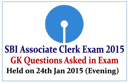 G.K Questions Asked in SBI Associate Clerk Examination