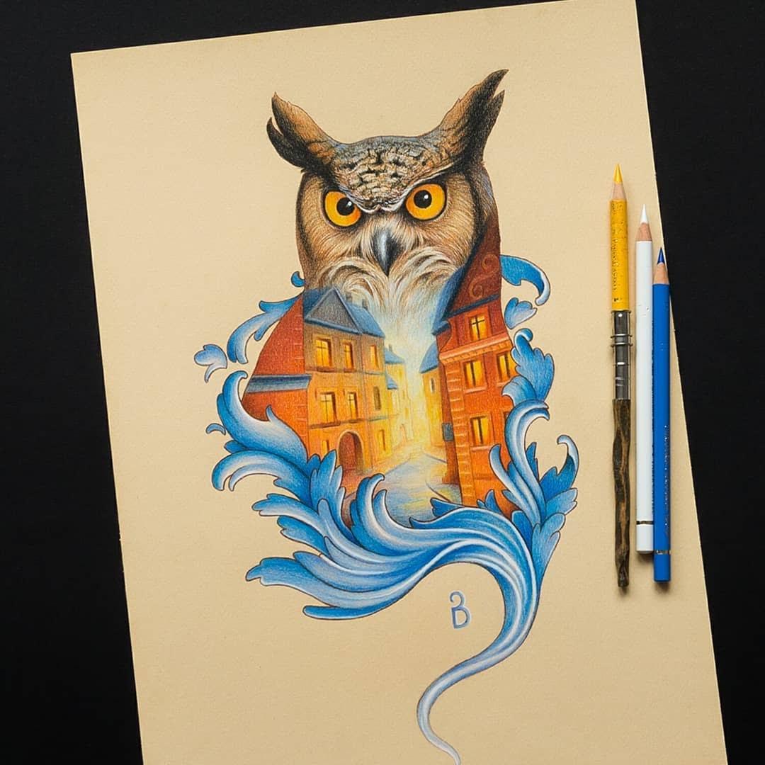 08-Owl-double-exposure-Łukasz-Andrzejczak-Fantasy-Art-and-Animals-www-designstack-co
