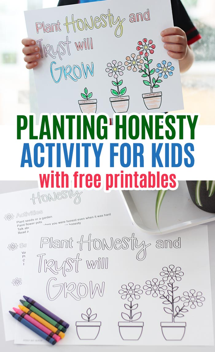 Free printables and activities to help kids learn about honesty! Explore honesty for kids with this month's Family Dinner Book Club. Free printables for kids and families and free flower coloring pages too. #familydinnerbookclub #forkids #freeprintables #kidsbooks