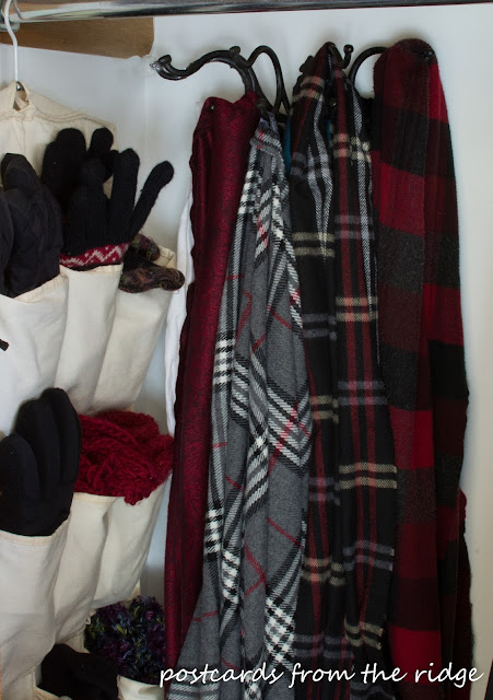 Coat Closet Organizing Ideas - hang scarves on hooks. Several other great ideas in this post!