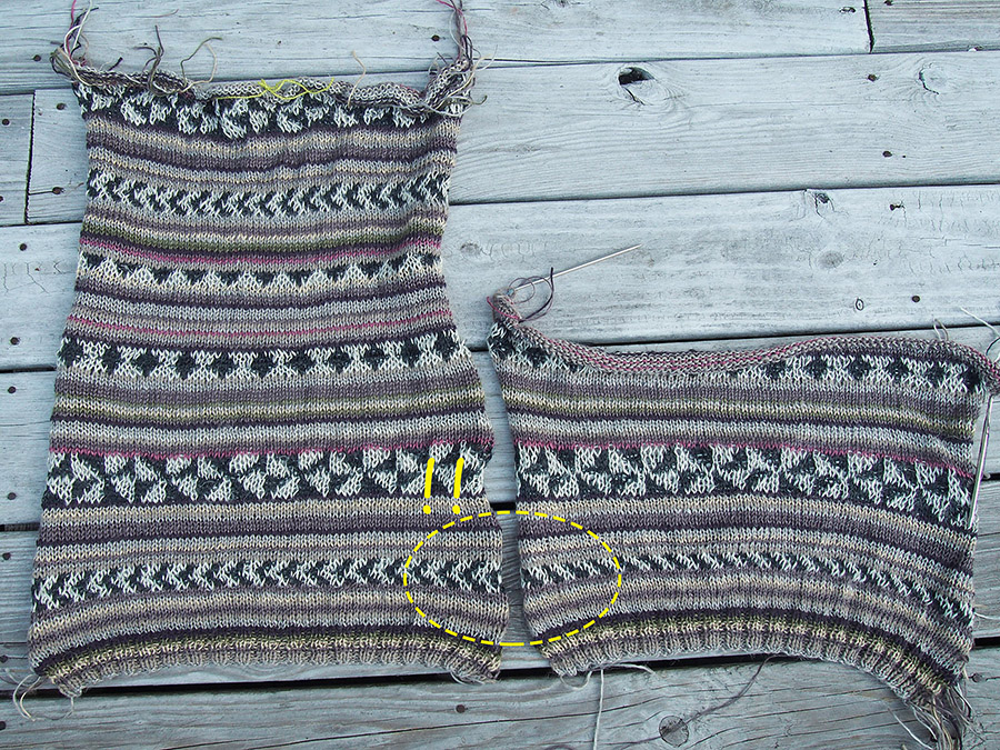 Arezzo by Kaffe Fassett, knit by Dayana Knits, how to fix missed rows in knitting