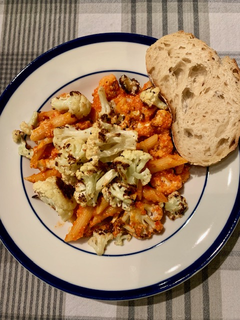 Pinch of Yum's Red Pepper Pasta with Cauliflower