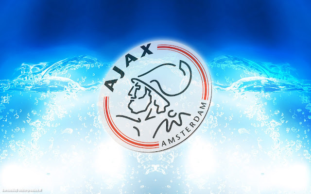 Blauwe abstracte Ajax wallpaper met logo, water en felle lichten
