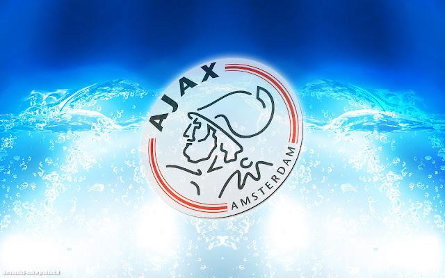 Blauwe abstracte Ajax wallpaper met logo, water en felle lichten