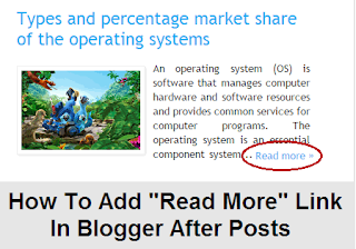 How to add read more link in blogger after posts