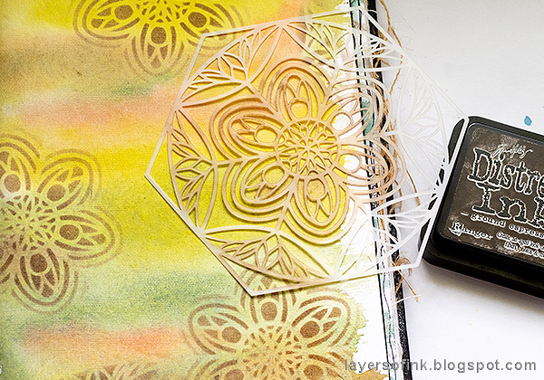 Layers of ink - Fox Watercolor Journal Tutorial by Anna-Karin Evaldsson, stenciling