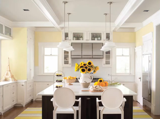 2013 home design trends, white kitchen cabinets, sorbet yellow, benjamin moore