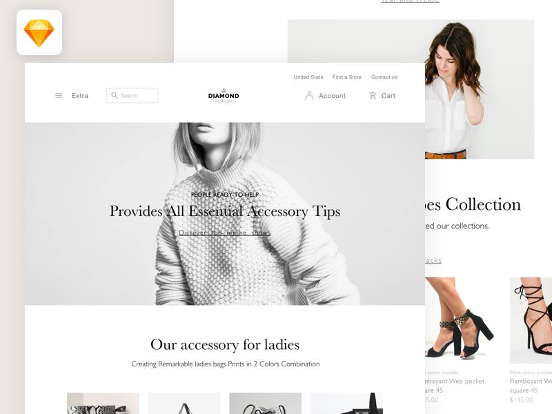 diamond fashion home page ui design