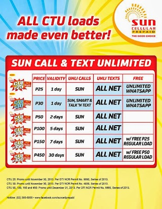List of Sun Cellular Unlimited Call and Text to All Networks Promo