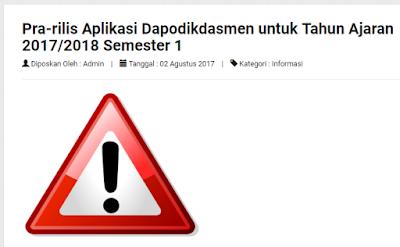 informasi pra rilis dapodikdas 2017/2018 semester 1