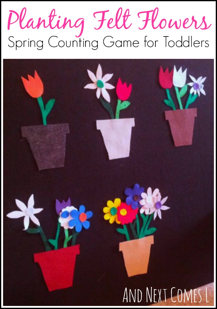 Spring themed counting game for toddlers on the felt board from And Next Comes L