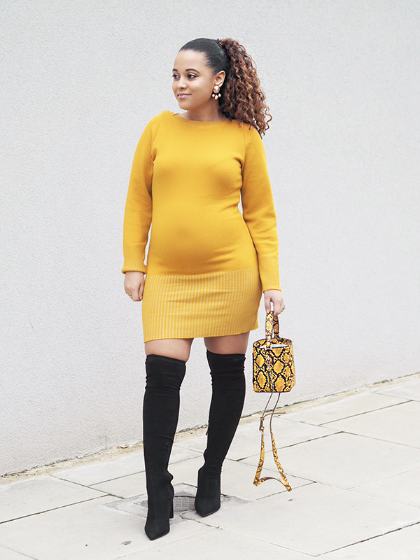 femme luxe, mustard jumper dress, ribbed bodycon dress