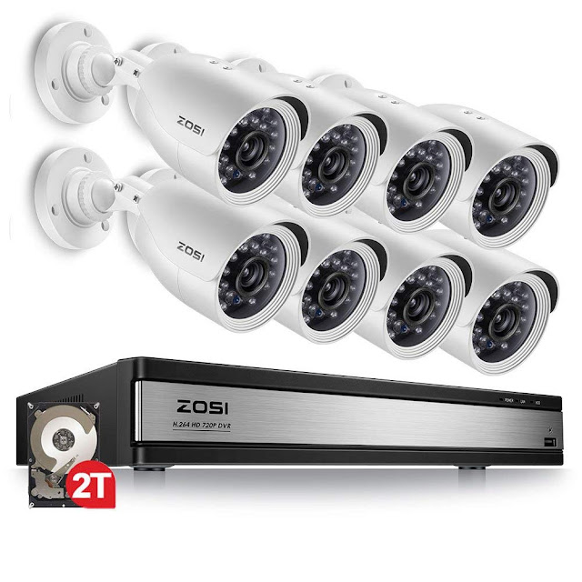 ZOSI 720p 16 Channel HD Security Camera System,16 Channel Hybrid DVR with (8) 720p(1280TVL) Weatherproof Indoor/Outdoor Surveillance Bullet Camera CCTV (2TB HDD Included)